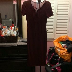 Red dress with lace up ties on chest